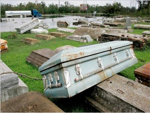 After Katrina, in the Louisiana swamplands.  Because of the high water table, coffins are in above ground crypts.