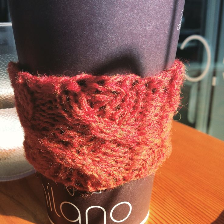 Check out my newest design. Stop wasting cardboard by using disposable cup protectors. Make yourself a reusable cozy.   I don't know about you, but I can't see straight before my first cup of coffee. I walk crooked, I talk crooked and I even think crooked. The crooked cable lines on this reusable cozy remind me of that feeling.      http://www.ravelry.com/patterns/library/dont-talk-to-me-before-coffee