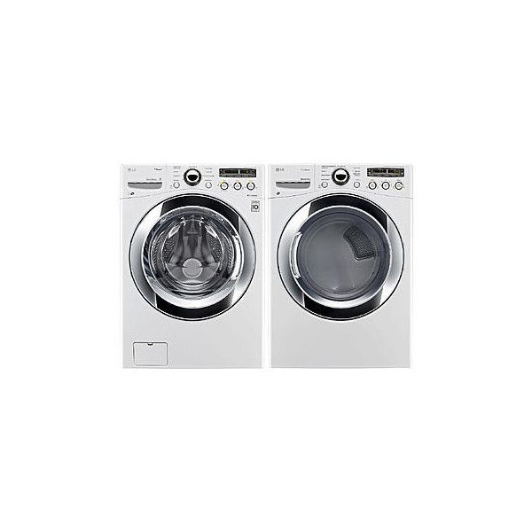 LG 4.0 cu. ft. Front-Load Washer & 7.3 cu. ft. Dryer Bundle -... ❤ liked on Polyvore featuring home, home improvement and cleaning