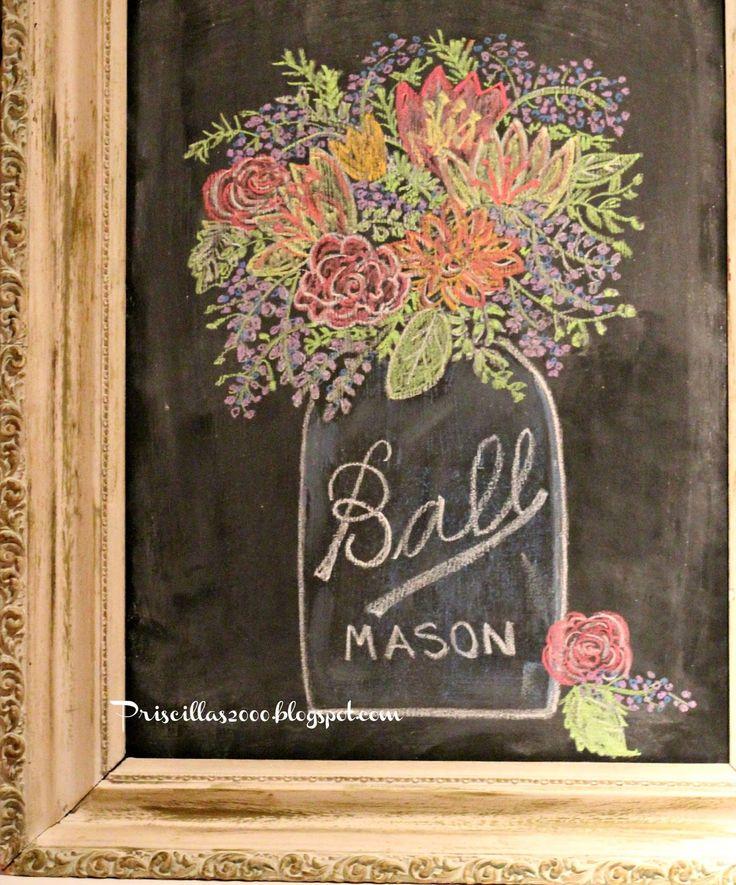 Beautiful Mason Jar Chalkboard Art