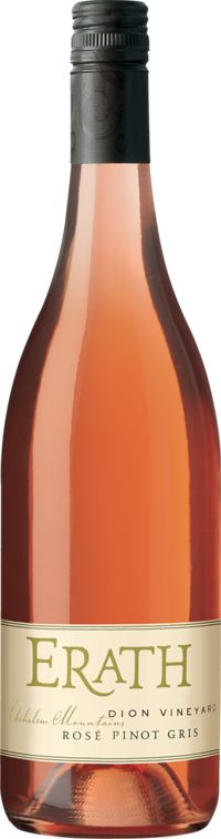 """This salmon-pink dry rose of Pinot Gris offers a nose of papaya, maraschino cherry, white flowers and invigorating mulling spices. Enjoy lightly chilled to maximize the vivacious mouthful of rhubarb, kiwi, watermelon and rosewater. Tannins and acidity cooperate, providing balance and structure."""