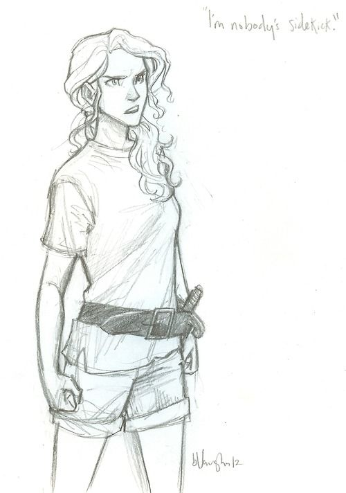 "Annabeth Chase: Nobody's sidekick.... hehe just remembered The Sea of Monsters and how Percy claimed to be ""Nobody"" after Annabeth was discovered. Not saying she IS a sidekick... but she could be saying that she is Percy's sidekick, because she's ""Nobody's sidekick""."