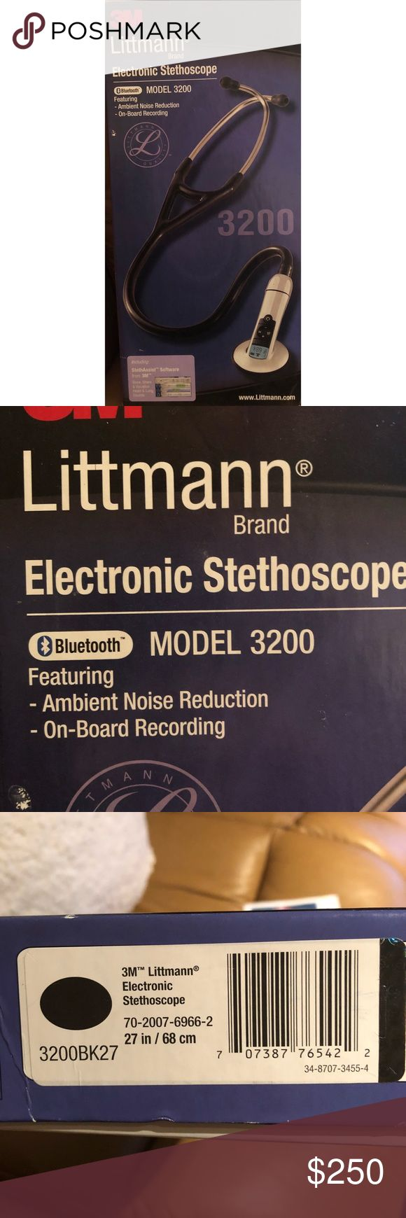Littmann Electronic Stethoscope 3200 Black Used Littmann Electronic Stethoscope 3200 in Black. Bluetooth, Ambient Noise Reduction. Works great but Black polish is wearing off on one edge of the bell & there is a tiny chip on the glass display. See photos.  Record and save up to twelve 30-sec patient sound tracks Transmit sounds via Bluetooth® technology (Bluetooth® adaptor included – not compatible with Apple devices) Eliminate 85% (on average) of ambient noise Amplify sounds up to 24x The…
