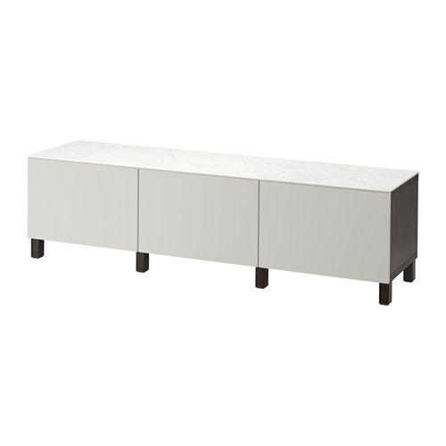 BESTÅ Storage combination with drawers - black-brown/Lappviken light gray, drawer runner, push-open - IKEA