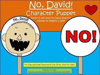 "Free:  No, David (by David Shannon) Character Puppet...help your students learn the word ""No"". Freebie For A Teacher From A Teacher. Enjoy! fairytalesandfictionby2.blogspot.com"