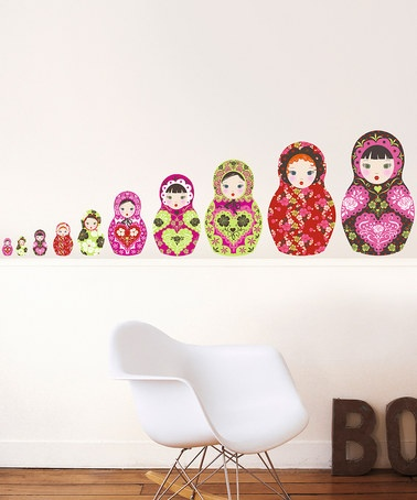 how cute are these!?    Take a look at this Russian Doll Wall Decal Set by Nouvelles Images on #zulily today!