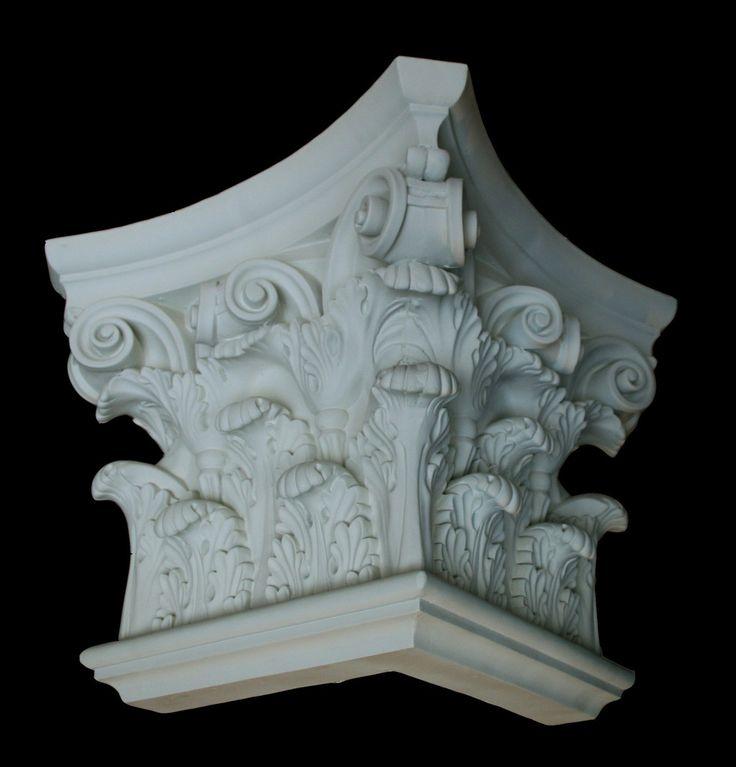 "Corinthian Flat Pilaster Capital Corner 16"""