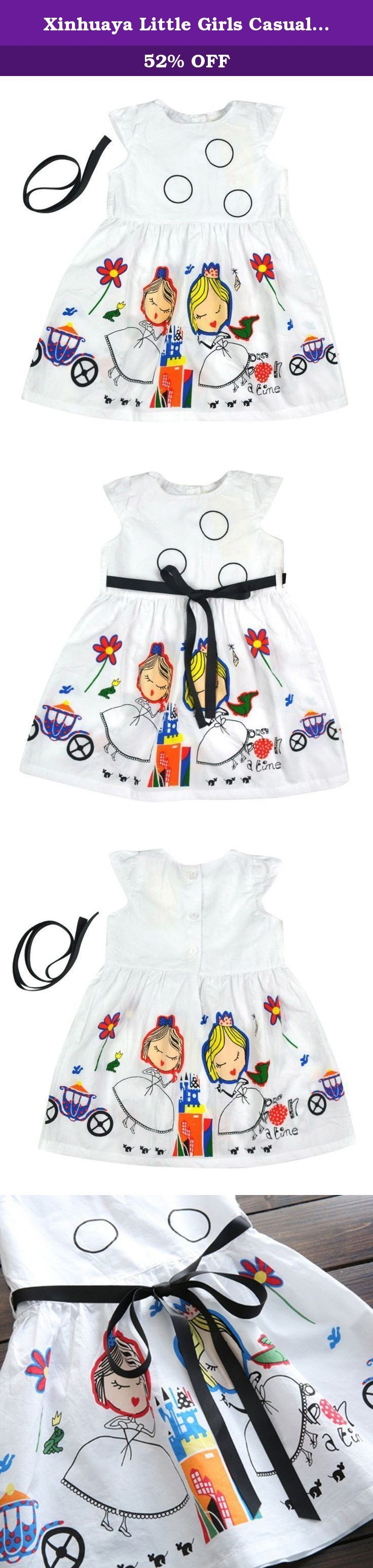 """Xinhuaya Little Girls Casual Flower Cartoon Circle Pattern Dresses with Belt 6T. Little Girls Flower Cartoon Printed Cap Sleeves Dress with Belt Tutu Dress make your girls like a princess Material:Cotton; Soft and Cozy for your princess to wear Main Color: White Sleeve Type:Cap Sleeves Pattern: Flower, Circle, Cartoon Printed Season:Spring,Summer, Fall/Autumn Size:Fits for 2-7 Years Kids Girls Size:90(2T) ;1/2Bust:10.62"""" ;Length: 18.89"""" Size:100(3T) ;1/2Bust: 11.02"""";Length: 19.68""""..."""