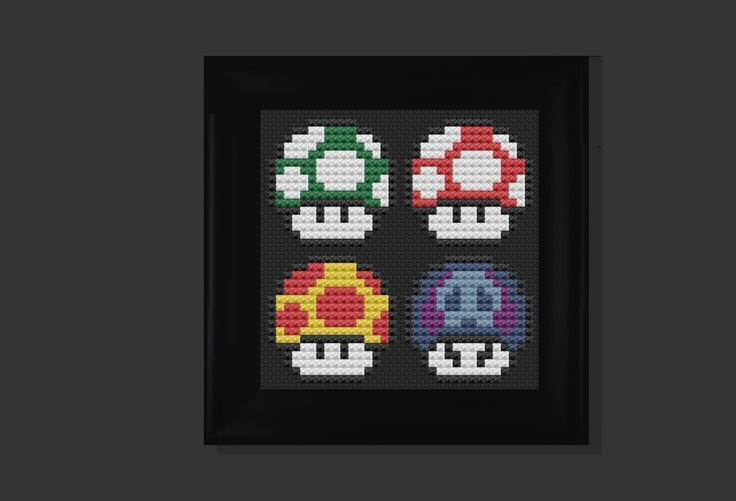 mario cross stitch | Mushroom mario bros cross stitch pattern by crossstitchuniverse
