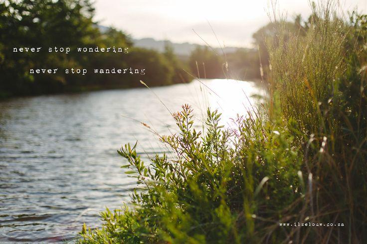 Never stop wondering. Never stop wandering. www.ilzelouw.co.za
