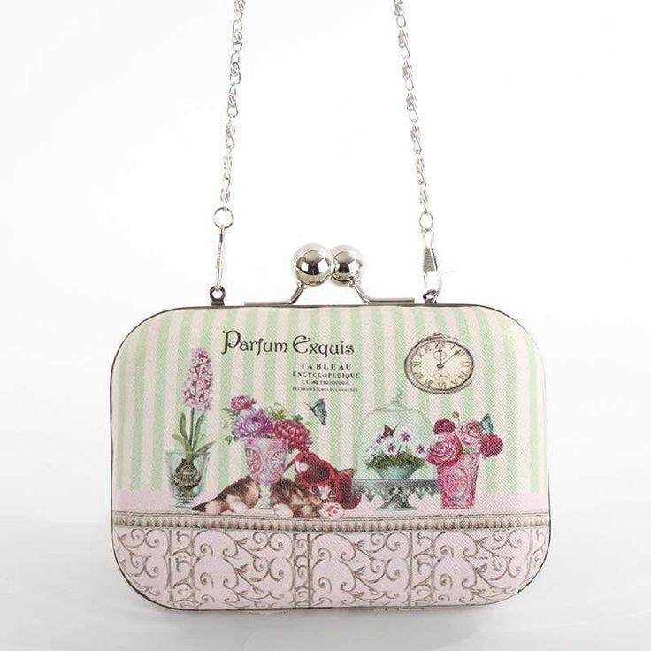 For her. Τσαντάκι ώμου pu σχέδιο λουλούδια και αλυσίδα, για ξεχωριστές εμφανίσεις.
