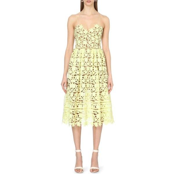SELF-PORTRAIT Azaelea lace dress ($340) ❤ liked on Polyvore featuring dresses, yellow, floral lace dress, v neck cocktail dress, skater skirt, yellow skater skirt and scalloped lace dress