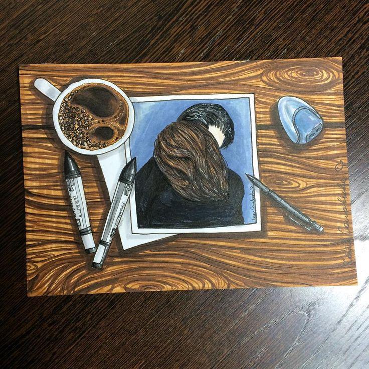 Вот что я люблю! Кофе, порисовать, ну и, конечно, любовь😍 Ну и деревяшечка, куда без неё.😂 #alexandradikaia_ldc #sketch #скетч #markers #спиртовыемаркеры #любовь #кофе #арт #иллюстрация #art #illustration #love #coffee #promarker