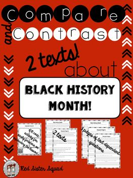 Have your kids comparing two text!  This package has a nonfiction and fiction story.  Includes three pages of text dependent questions.  One for each story and one page comparing both stories.  Also includes QR code activity for early finishes or expanding the lesson!!Great for black history month or practicing comparing two texts!COMMON CORE ALIGNED!Bundle and save!