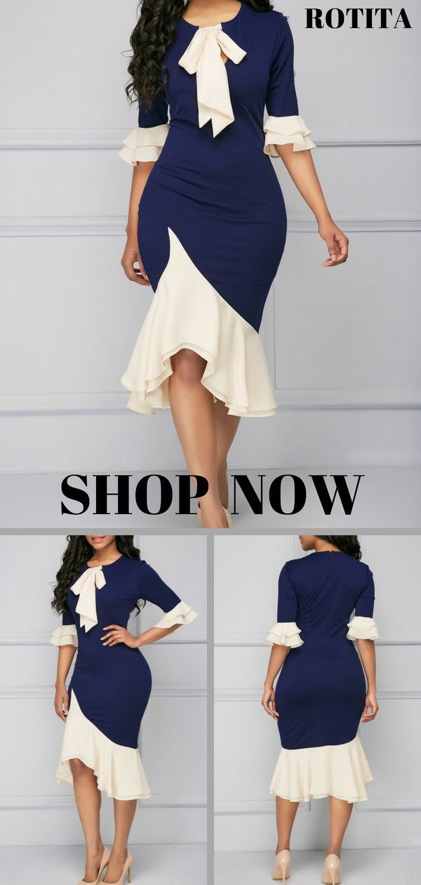 Tie Neck Frill Hem Flare Cuff Sheath Dress.From parties and formal dinners to wo…