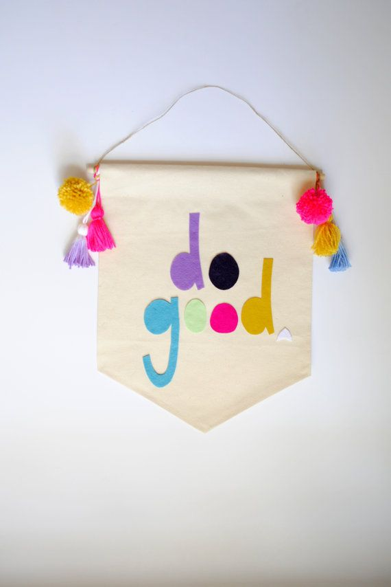 Do Good / Oh Baby Canvas Wall Banner 19 x 14 by SharpToothStudio
