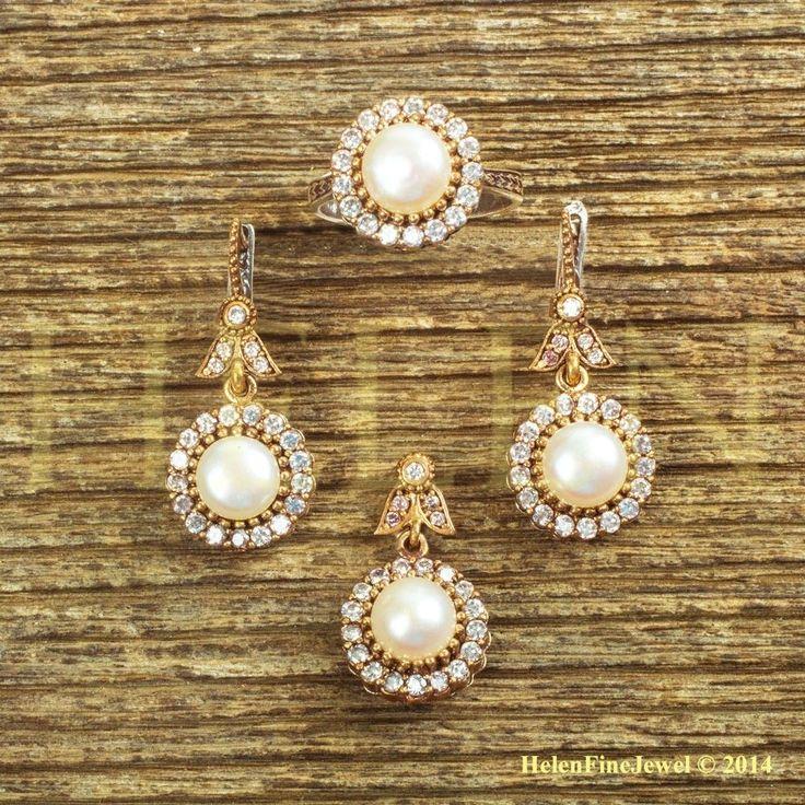 Hurrem Sultan Set Round Shape Pearl Look Turkish Ottoman Jewelry 925 SS #Unbranded