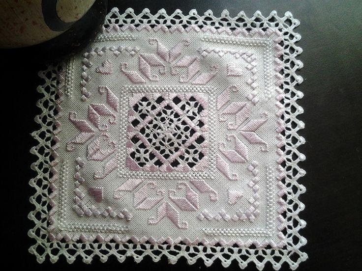Pink Hardanger mat