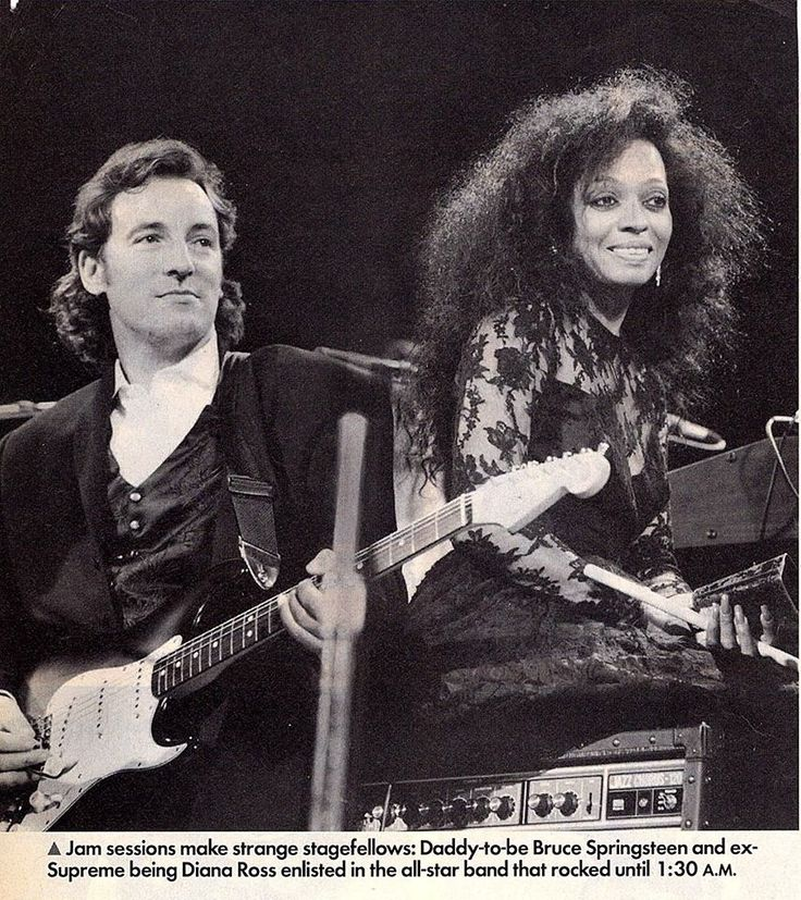 Diana Ross with Bruce Springsteen performing at the 1990
