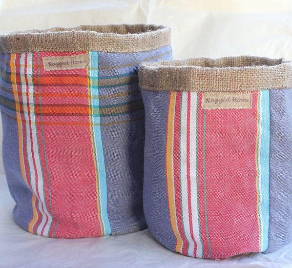 Pair of Hessian Burlap and Kenyan Kikoy Fabric by RaggedHome