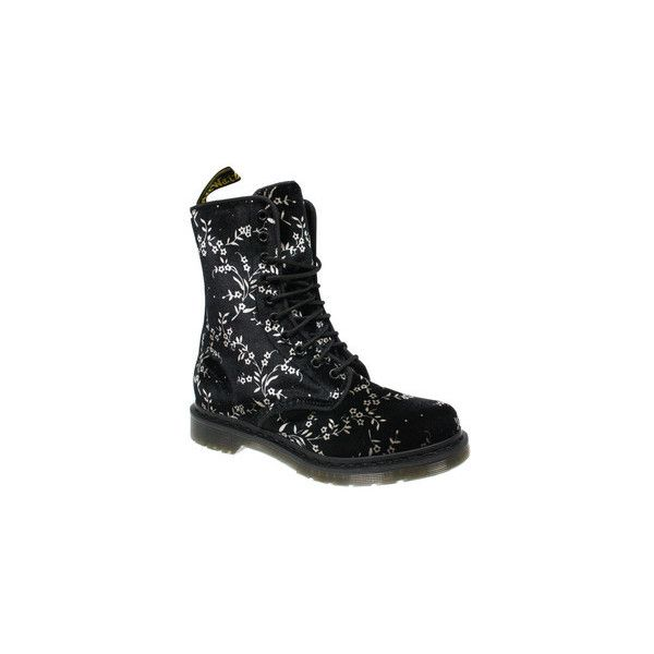 WOMENS Dr Martens AVERY BLACK VELVET BLOSSOM 10 EYE LACE FLORAL SHOES... ❤ liked on Polyvore featuring shoes, boots, lace boots, flower print shoes, black shoes, velvet shoes and black lace-up boots