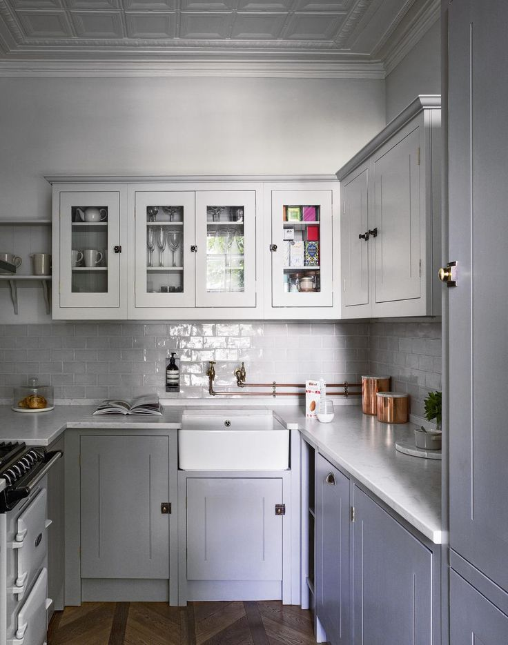 Grey Classic Kitchen with Parquet Floor and Painted Cabinetry
