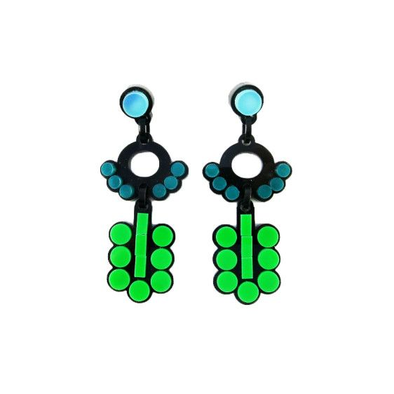 Deco green circle earrings | $40 | #UnderOurSky