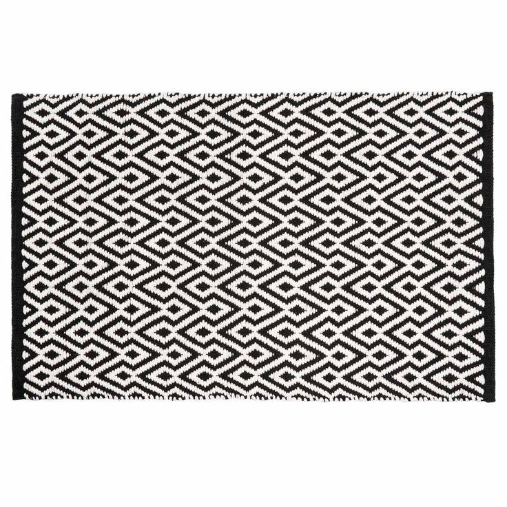 Laagpolig zwart en wit katoenen ETHNICO tapijt met motieven 60 x 90 cm
