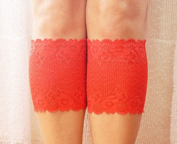 RED  Boot Cuffs Leg Warmer Lace Boot Cuffs  Women's Shoe by Periay, $14.00