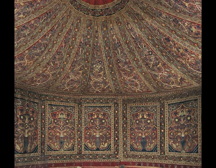 NOW ON VIEW: Muhammad Shah's Royal Persian Tent. Pictured: Royal Round Tent Made for Muhammad Shah (ruled 1834–48). Iran, Rasht, Qajar period (1779–1925). Interior: Plain weave: inlaid work, wool; embroidery: chain stitch, silk; tape, leather, rope. Exterior: Plain weave: cotton; iron ring, rope; h: 360 cm, diam: 400 cm. The Cleveland Museum of Art, Purchase from the J. H. Wade Fund