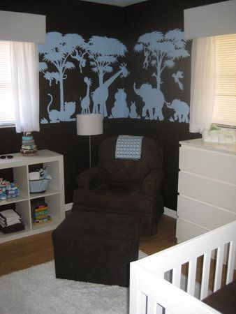 I like this without the animals.   Be sure to see our colorful brown baby room. Get more decorating ideas at http://www.CreativeBabyBedding.com