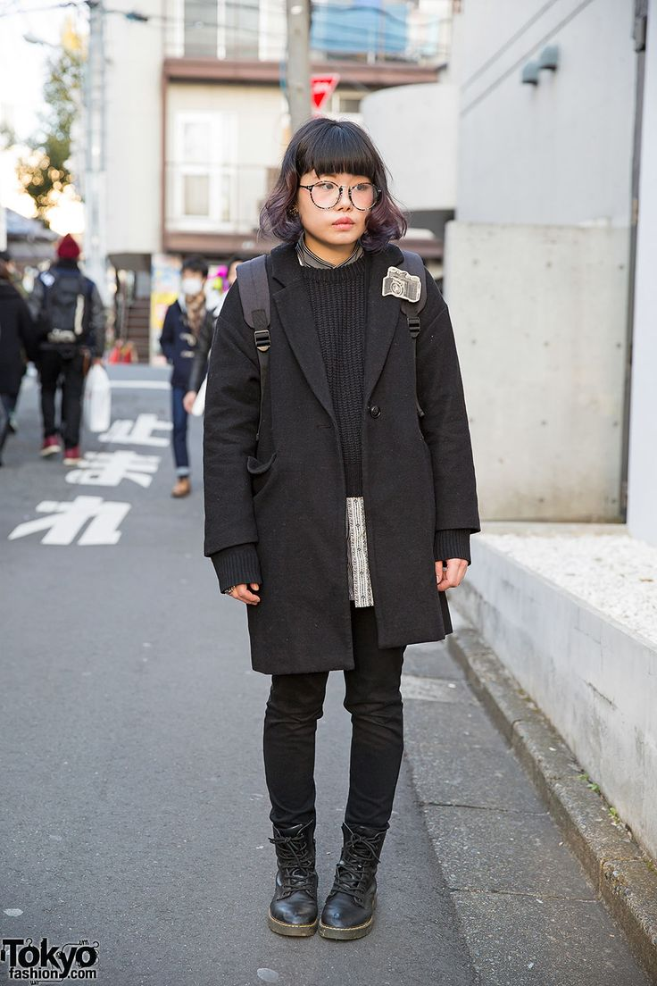 black coat, black knit, long shirt