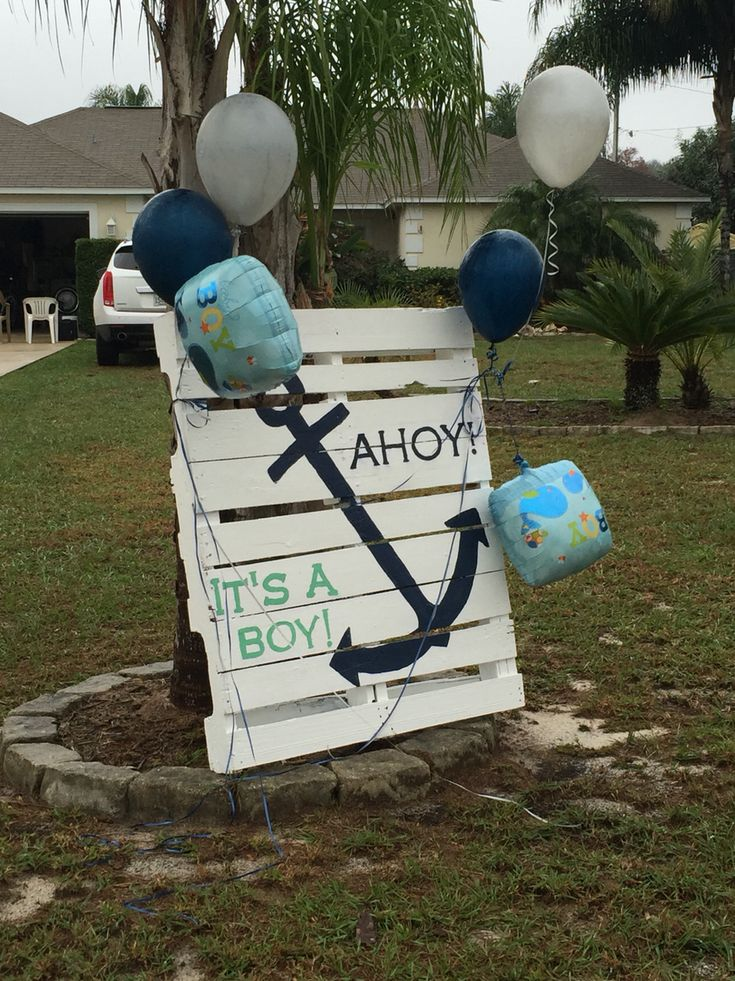 Pallet painting yard sign for ahoy it's a boy nautical themed baby shower