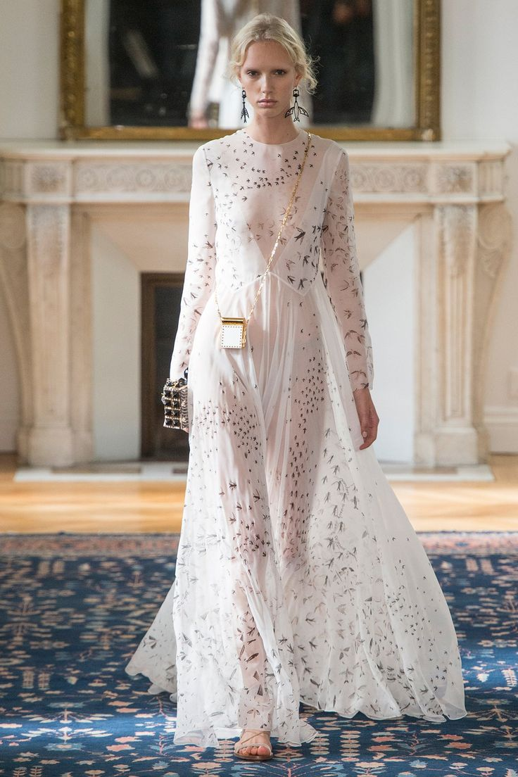Valentino - Brides will flock to this light-as-a-feather gown, which came replete with a literal allover fledgling motif.