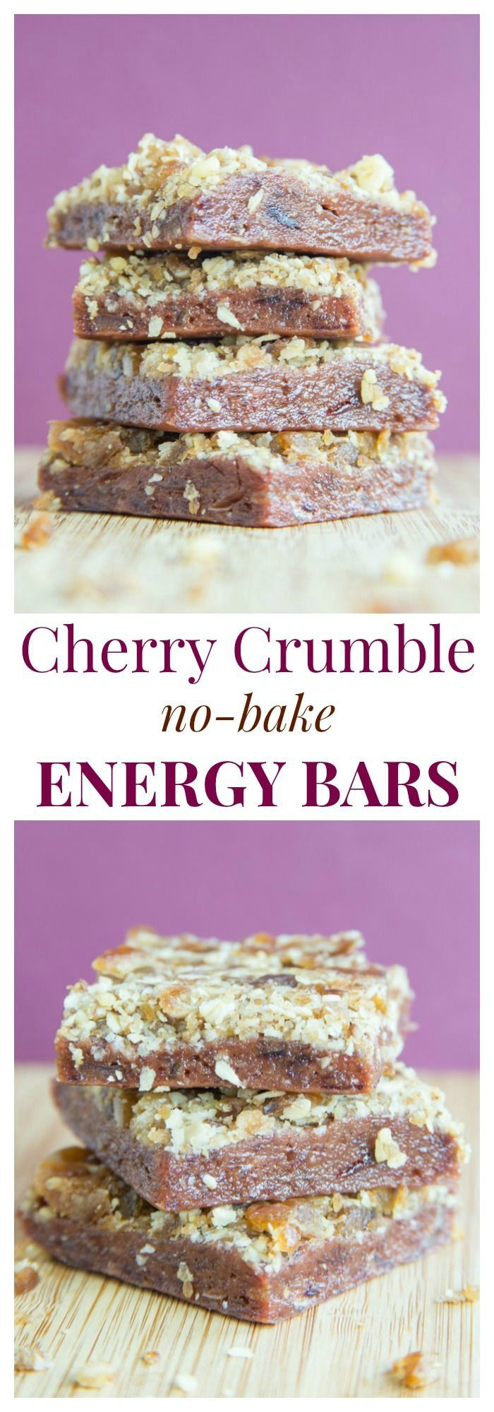 Cherry Crumble No Bake Energy Bars - a healthy snack bar with a sweet cherry layer and a streusel crumb topping. | cupcakesandkalech... | gluten free, vegan recipe