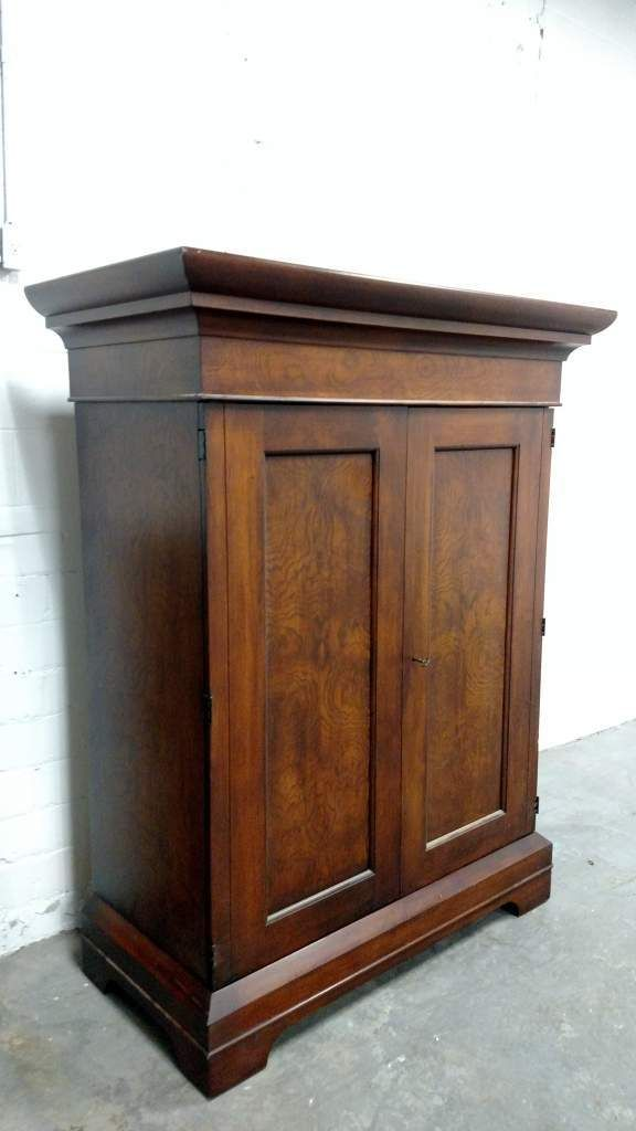 Traditional Romweber Exotic Mahogany Burlwood Armoire Entertainment Cabinet TV | The Designers Consignment