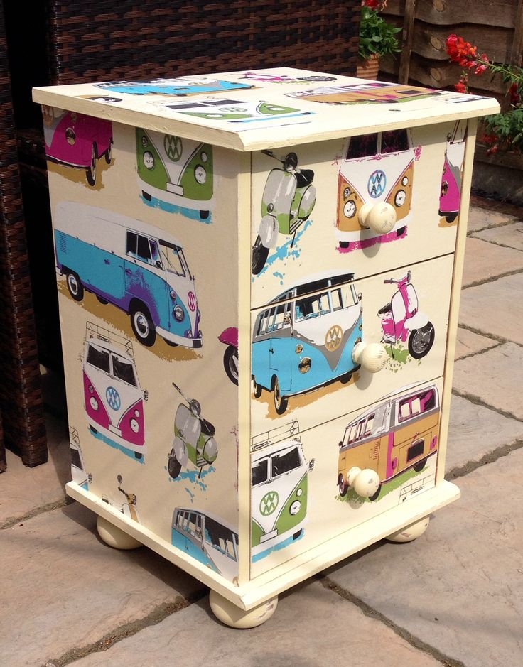 VW Camper van drawers decoupage