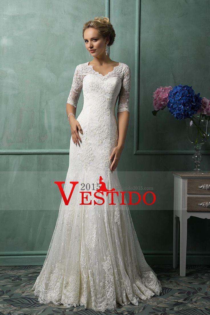 2016 vestidos de boda de la sirena del V cuello media manga de encaje con apliques Y Granos