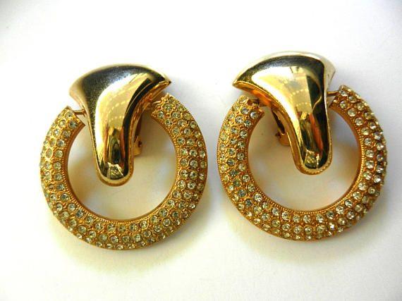 Dazzling showy Door knocker style earrings  late