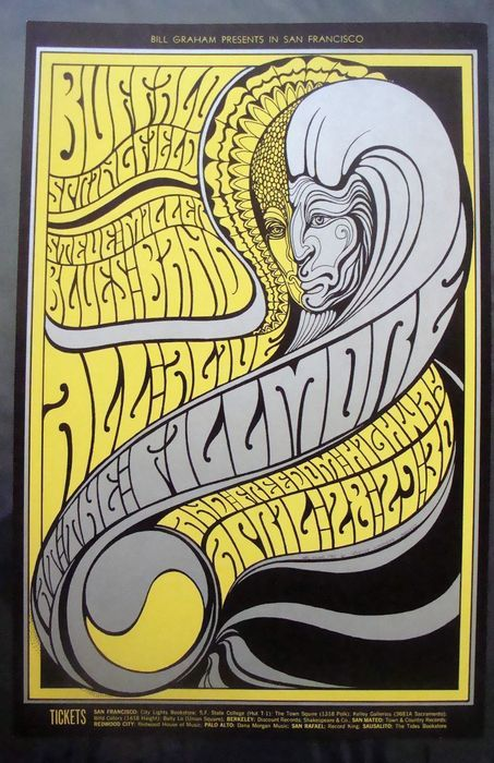Buffalo Springfield / Steve Miller Band at the Fillmore San Francisco by Wes Wilson 1967 - W.B.