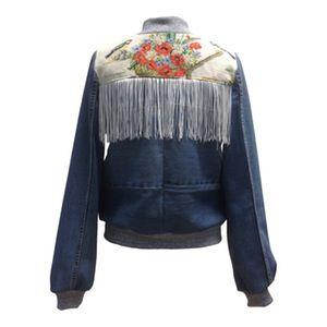 Image of Jeans jakke med hvid fryns og broderi