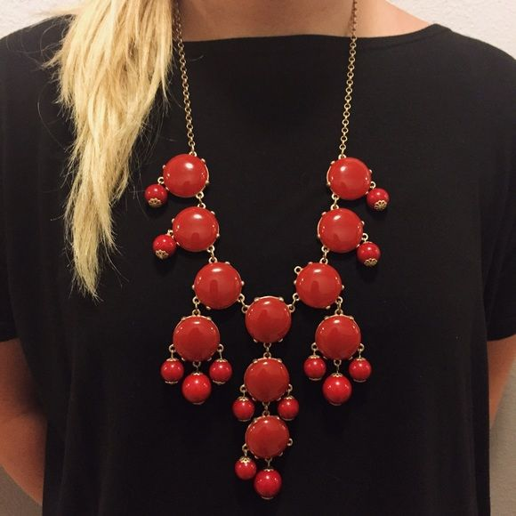 Red Bubble Necklace *missing bead in cover photo which I reattached in later pictures* This red bubble necklace tagged along with me to one Razorback game but hasn't been worn since! It is in good condition and is such a versatile necklace! Make me an offer! :) Jewelry Necklaces