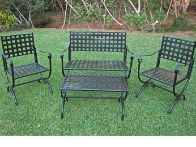$355 Contempo 4 Piece Iron Loveseat Set Loveseat Coffee Table And 2 Chairs  | EBay