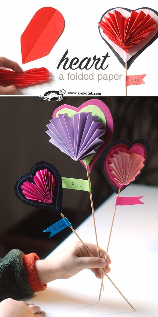 A folded paper heart