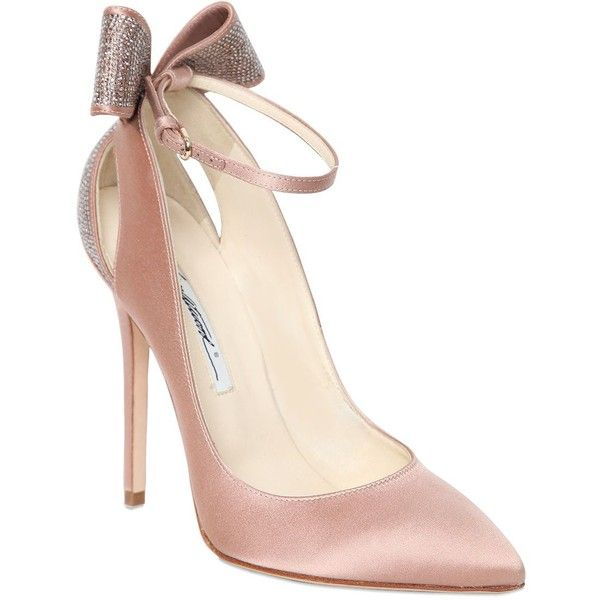 Brian Atwood Women 120mm Magda Swarovski Satin Pumps ($1,545) ❤ liked on Polyvore featuring shoes, pumps, blush, embellished shoes, pointed toe high heel pumps, high heel shoes, pointed toe pumps and swarovski crystal shoes