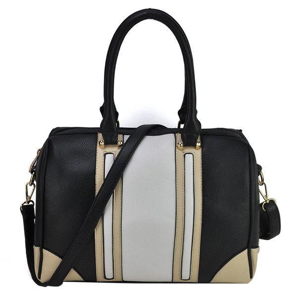 VK Contrast Color Patchwork Bowler Bag - White
