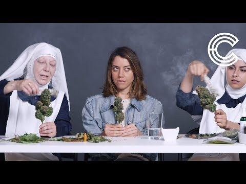 """If Jesus lived, he probably smoked weed!"" - Aubrey Plaza smokes marijuana with the Weed Nuns, learns how to trim a bud! 