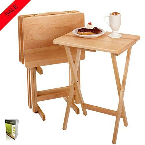 Small Folding Table Set For 4 With A Stand Made Of Solid Wood With Rounded Corners Rectangular Shape Easy To Use Snack Table Set Tv Snack Tables Snack Table