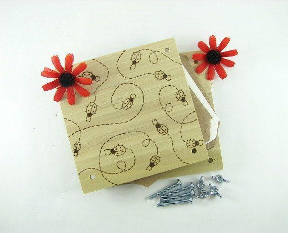 Flower Press  Wood Pyrography  Ladybug Design Plant by bkinspired