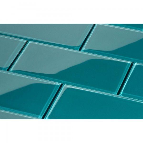 "Dark Teal Green 3"" x 6"" Glossy Glass Subway Tile"